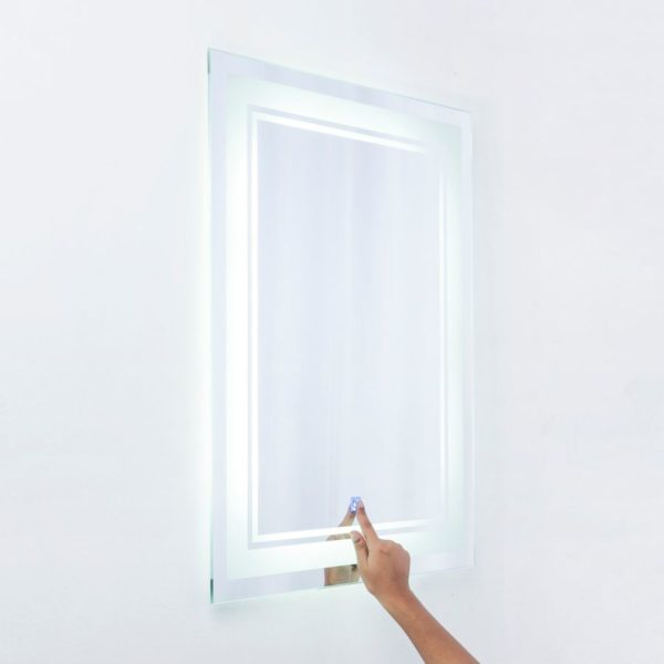 مراية مستطيلة برواز مصنفر بضوء أبيض